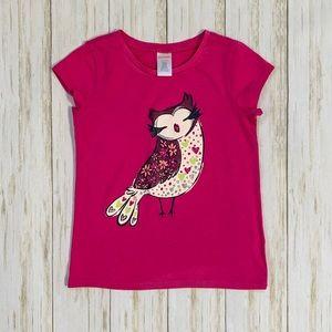 Gymboree Fuchsia Owl Glittery Sparkle Short Sleeve